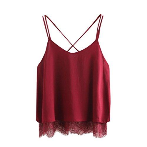 MRULIC Damem Women Casual Chiffon ärmellose Crop Top Weste Tank Shirt Bluse Cami Top (EU-44/CN-XL, Rot)