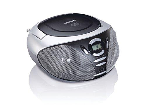 Lenco SCD-300 BLACK Portable Boombox (USB, FM/AM, Radio met CD/MP3-speler, telescopische antenne, USB), zwart