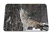 26cmx21cm マウスパッド (狼の遠吠え雪の森) パターンカスタムの マウスパッド