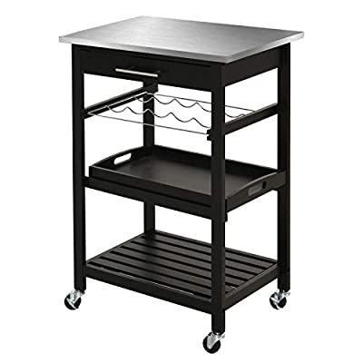 HOMCOM Pine 3-Tier Multifunction Rolling Kitchen Island Cart with Open Storage Shelves, Wine Rack & Stainless Steel Top from Aosom LLC