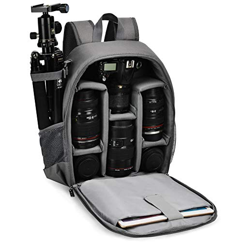 CADeN Kamerarucksack Camera Backpack Wasserabweisend Kameratasche Fototasche Kompatibel mit Sony Canon Nikon (Grau)