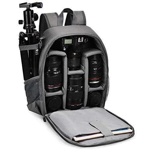 Kamerarucksack,CADeN Wasserdicht Camera Backpack Kameratasche Fotorucksack Kompatibel mit Sony Canon Nikon und 1 DSLR/SLR 5 Objektiv Stativ Zubehör (Grau)