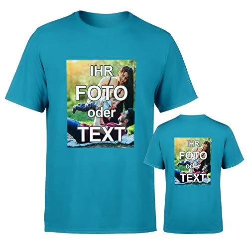 T-Shirt mit eigenem Foto Text Logo Name selbst gestalten * ringgesponnene Baumwolle * vollfarbig DOPPELSEITIG Bedruckt * viele Farben, Farbe:Aqua Blau, Größe:XXL