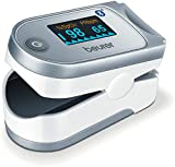 Beurer PO 60 Pulsossimetro Bluetooth a Lettura Istantanea con Visualizzazione Grafica del Battito Cardiaco e 100 Posizioni di Memoria