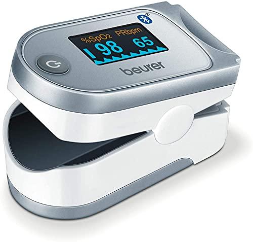 Beurer PO 60 BT Pulsioxímetro de Dedo con Bluetooth, Color Blanco y Plata, 58.5 x 30 x 33 mm, 49 g ✅
