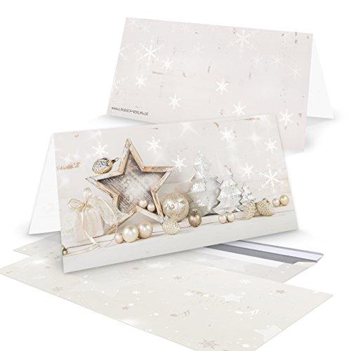 100 sztuk kartek świątecznych biało-beżowe złoto naturalny bon DIN długi - bez tekstu - kartki świąteczne motyw shabby chic wyjątkowo piękne z kartką składana podwójna