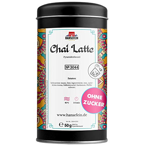 Hansefein Chai Latte Tee (20 Teebeutel) für 20 Tassen Tee – indische Mischung aus schwarzem Tee und Gewürzen für ein intensives Geschmackserlebnis – Power Chaitee