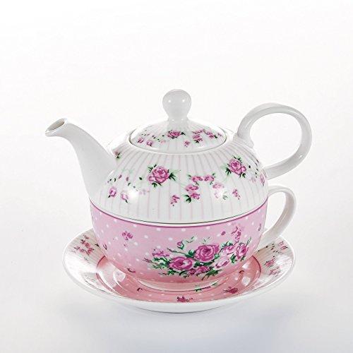 MALACASA, Serie Sweet.Time, Tea for One Servizio da tè 4 Pezzi di tè in Porcellana con Teiera, Tazza e Piattino Fiori e caffè Bianco con Regalo di Rose