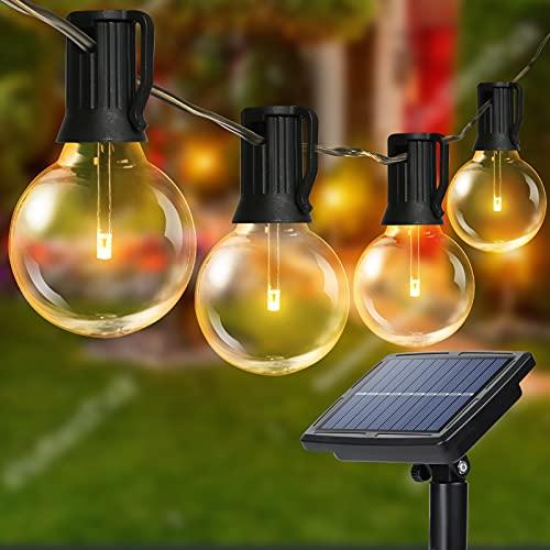 Joomer - Cadena de luces solares G40 para exteriores con 25 bombillas LED inastillables, 4 modos de luz, impermeables, luces colgantes automáticas, encendidas y apagadas automáticas, decoración de porche, cenador, 2700 K, E12