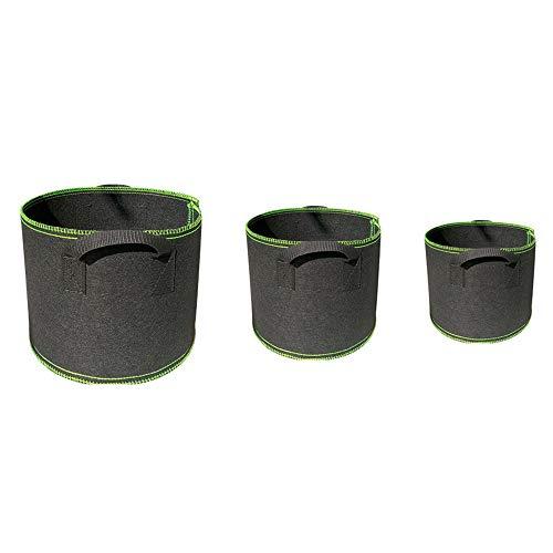 3Pcs Sacchi per Piante Piante in Tessuto Non Tessuto con Maniglie per Piante Non Tessuto Traspirante per la coltivazione in tessuto (5L 8L 12L).