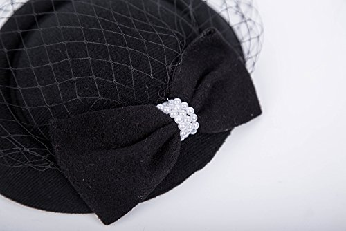 Fascinators Hats 20s 50s Hat Pillbox Hat Cocktail Tea Party Headwear with Veil for Girls and Women(C-black)
