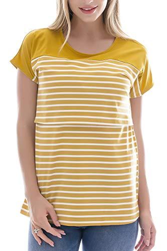 Smallshow Camiseta Enfermería de Manga Corta Camiseta Maternidad Lactancia Top Algodón Premamá Embaraza de Rayas Yellow XXL