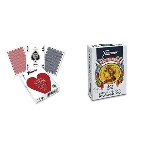 Fournier- Nº 2500 Plástico Baraja de Cartas de Poker Profesional cálidad Casino, Color Rojo/Azul (1028934) + Baraja española Nº 2100 (50 Cartas)