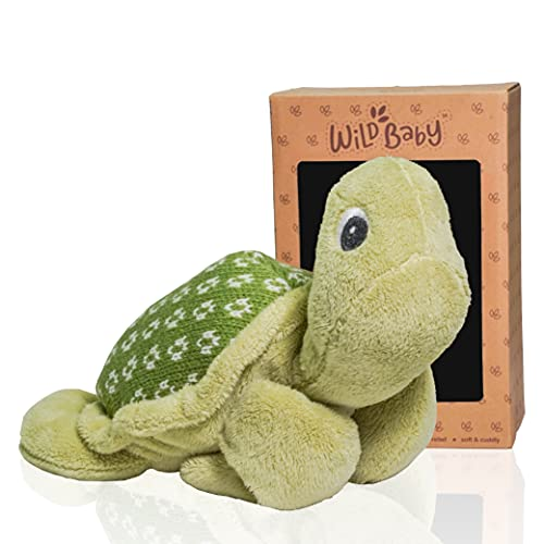 WILD BABY Turtle Stuffed Animal - Heatable Microwavable Plush Pal with Aromatherapy Lavender Scent for Kids - 12'