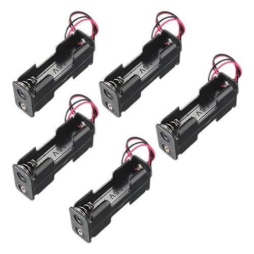 VUNIVERSUM 5X Stück Batteriehalter Batterien Box Gehäuse für 2X AA 1,5V Batterien Akkus Kabel mit Lötanchluß und Fixierung von Mr.Stecker Modellbau®