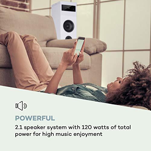 AUNA Karaboom 100-2.1 Lautsprechersystem, Turmlautsprecher, 2.1 Lautsprecher, Standlautsprecher, 120 Watt max. Bluetooth, USB Port, MP3, UKW Radio, AUX-In, inkl. Tablethalter, weiß