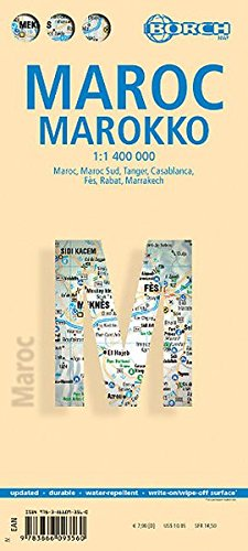 Marokko: 1:1 400 000. Einzelkarten: Maroc 1:1 400 000, Maroc Sud 1:6 000 000, Tanger 1:11 000, Casablanca 1:20 000, Fès 1:16 000, Rabat 1:17 500, ... 1:20 000, Morocco administrative / time zones