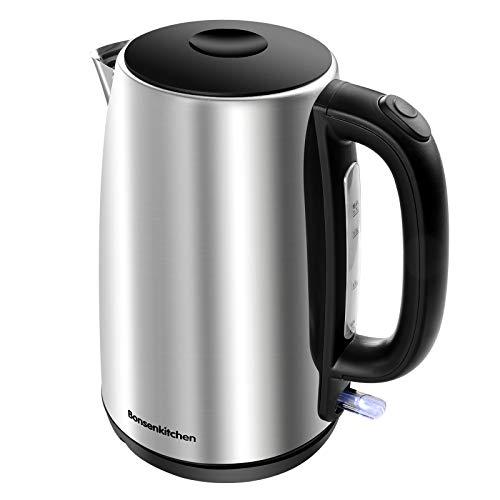 Bonsenkitchen Wasserkocher Edelstahl 1,7 L, 2200W Elektrischer Wasserkessel mit Kalkfilter, Edelstahlkessel Auto-off & Trockenlaufschutz, ideal für Kaffee, Tee, Haferflocken, BPA-Frei