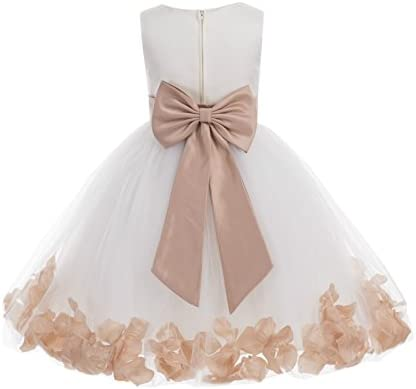 Wedding Pageant Flower Petals Girl Ivory Dress with Bow Tie Sash 302a 8 product image