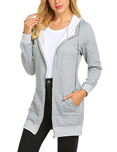 Zeagoo Women Hooded Zipper Collar Longsleeve Sweater Dress Women Sweatshirt,Gray,Medium
