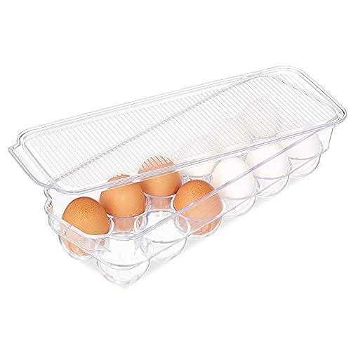 Caja Envase para Huevos,Cartón de Huevos Plástico,para la Nevera Caja con Tapa Huevera Plástico,Puede Contener 12 Huevos