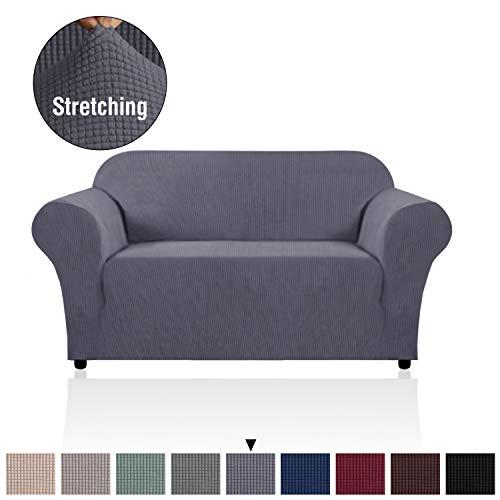 H. versailtex Elastic, Sofa Solid, rutschsicheren Displayschutzfolie Couch, Sessel Bettüberwurf Home Decor Stretch Sofa Bezug abnehmbar (für 1-Sitzer, grau), Textil, grau, 2 Seater/Loveseat