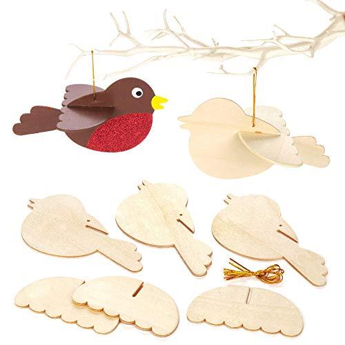 Baker Ross 3D-vogels van hout voor kinderen als Kerstmis knutsel- en decoratie-idee voor jongens en meisjes (6 stuks)