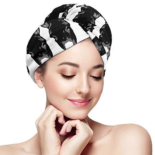 ALaze Tête d'âne Noir en Microfibre sèche Cheveux Chapeau Bonnet de Douche tête Serviette Turban
