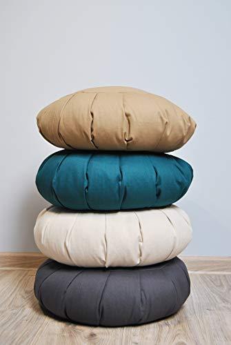 Meditation Cushion - widh15/20 cm - BUCKWHEAT Filling - Washable Cover Cotton - Floor...