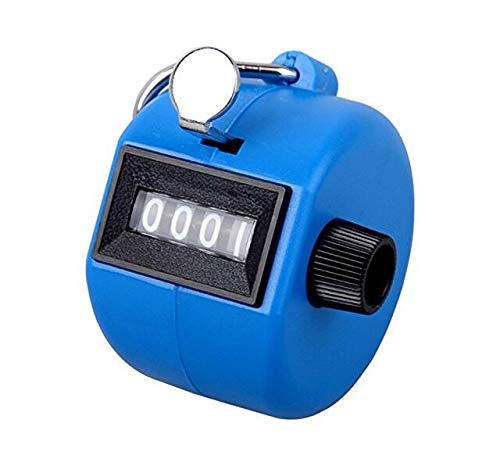 FormVan 4 Digit Hand Tally Counter, Mechanical Lap Tracker Manual Clicker with Metal Finger Ring Hoop Holder, Blue
