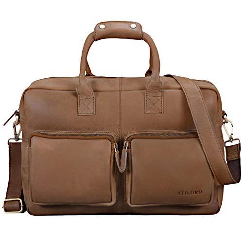 STILORD \'Henri\' Bürotasche Leder 15,6 Zoll Vintage Laptop Aktentasche Businesstasche Umhängetasche Lehrertasche Büffelleder, Farbe:Cognac - Hellbraun