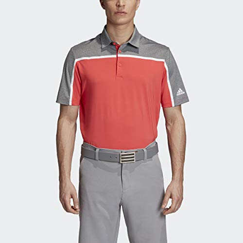 adidas Ultimate365 3-Stripes Recycled Polyester Polo Shirt Coral/Grey MD