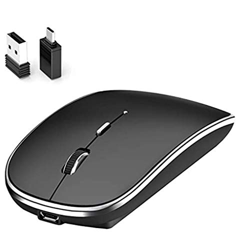 Youmymine 2.4G Slim Wireless Mouse,Slim Rechargeable Wireless Silent Mouse,Portable USB Optical Wireless Computer Mice with USB Receiver Adapter for PC, Laptop, Computer (Black, A)