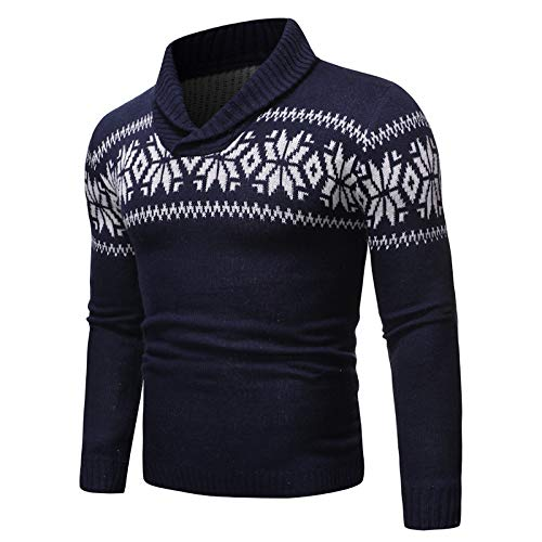 Jersey de solapa para hombre joven con elemento de Navidad de punto Azul azul XL