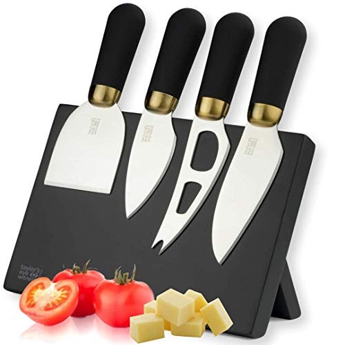 Brooklyn Cheese Knives and Magnetic Stand - by Taylors Eye Witness. 4-Piece Stainless Steel Cheese Knife Set with Black Soft Grip Handles & Antique Brass Effect Bolsters. 2 Year Guarantee.