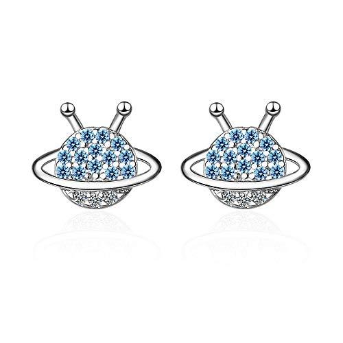 Pendientes Mujer Pendientes De Botón De Cristal Azul De Plata De Ley 925 para Mujer, Joyería De Fiesta De Boda para Mujer