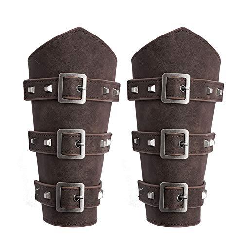 Agoky 1 Paar Unisex PU Leder Handschuhe verstellbare Stulpen Armband Mittelalterlich Armschienen Gauntlet Armschiene Rüstung Schutzende Manschette Braun C OneSize