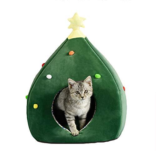 WEWE gesloten katten grot huisdier bed, kerstboom festival pluche kat huis kleine tent binnen slaaphuis schuilplaats Nest