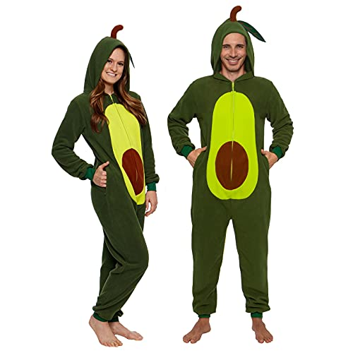 Silver Lilly Adult Onesie Avocado Costume - Slim One Piece - Plush Fruit PJ -Avocado Green, Small