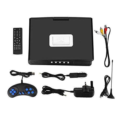 CHICIRIS Reproductor de DVD portátil con HD Pantalla LCD de 9.8 '' Reproductor de DVD Juego Reproductor de TV Receptor de Radio FM(Enchufe de la UE)