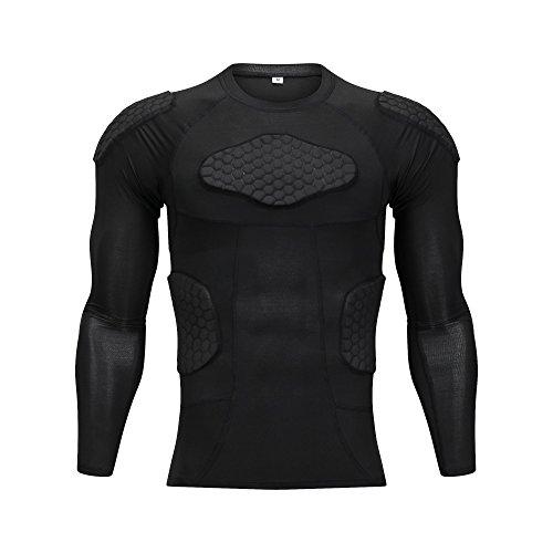 DGXINJUN Gepolstertes Kompressions-Shirt Rippenbrustschutz für Fußball, Basketball, Paintball, Radfahren, Black Long Shirt, L(Chest: 34-36 Inch)