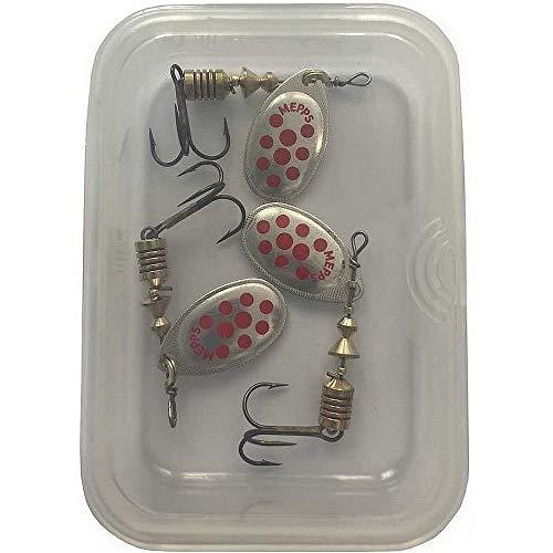 "Mepp""s- Anzuelo especial de cucharilla para pesca de trucha, varios colores, ARGENT POINTS ROUGES PAR 3, 3"