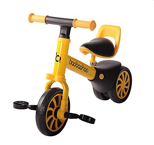 Bicicletas de equilibrio para niños de 1 a 3 años sin pedales, bicicletas deslizantes para niños y niñas, cochecitos de bebé, Yo-yo de doble propósito, cochecitos multifunción, bicicleta amarilla