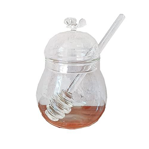 Honigtopf aus Glas, klar, Glastopf-Set mit Honiglöffel und Deckel, für Zuhause, Küche, 250 ml