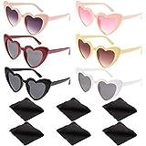 FANTESI 6 Piezas Gafas de Sol con Forma de Corazón, Gafas Vintage Clout Gafas de Sol Estilo Cat Eye Mod Gafas Kurt Cobain con 6 Piezas de Paño de Limpieza