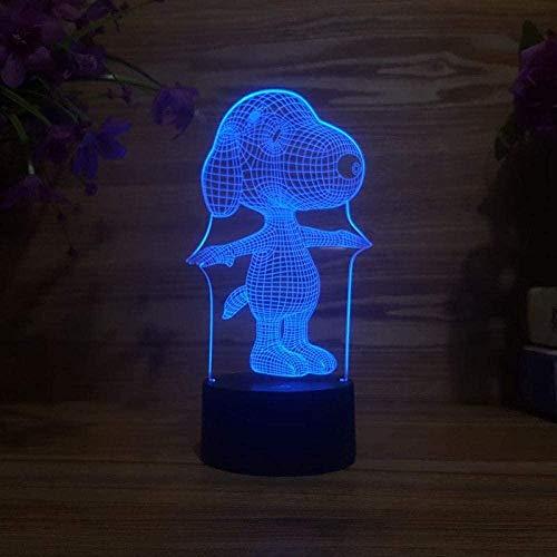 Lámpara de sueño LED 3D SnoopyUSB 7 colores Sensor Lámpara de escritorio Cumpleaños Vacaciones Navidad Halloween Regalos