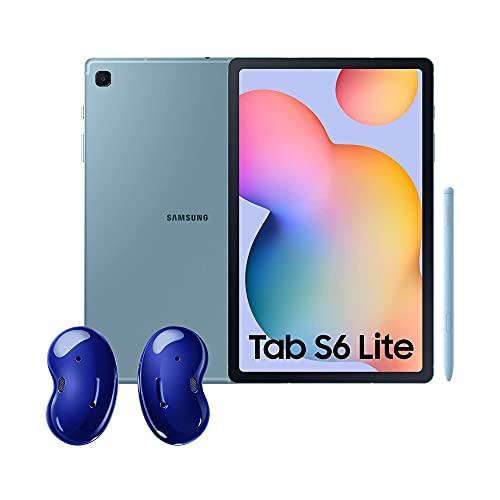 Samsung Galaxy Tab S6 Lite Tablet 10.4' (WiFi, Procesador Exynos 9611, RAM 4GB, Almacenamiento 64GB) Azul + Galaxy Buds Live Auriculares Bluetooth inalámbricos, 3 micrófonos, Tecnología AKG, Azul