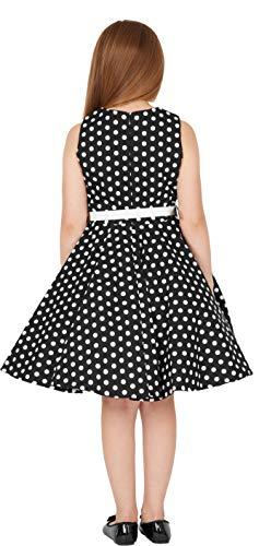 BlackButterfly Kinder 'Audrey' Vintage Polka-Dots Kleid im 50er-J-Stil (Schwarz, 9-10 J) - 5