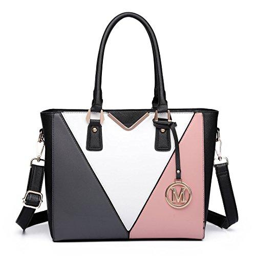 Miss Lulu Schultertasche/Handtasche in Lederoptik, v-förmiges Design, Braun - nude - Größe: Large