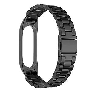 Simpeak Correa Compatible con Xiaomi Mi Band 5 / 6 (5.5-8.1 Pulgadas), Pulseras de Acero Inoxidable Wristband Repuesto Bandas Compatible con Xiaomi Mi Band 5 Fitness con Cerradura-Negro